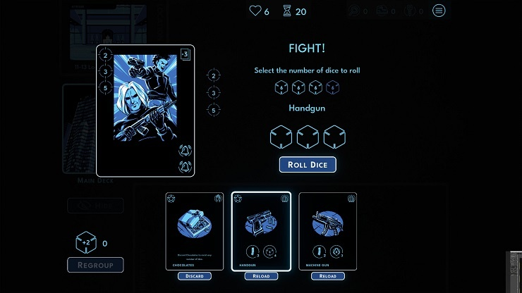 Hunted Kobayashi Tower, shows enemies ready to battle, asks player how many dice to fight with.