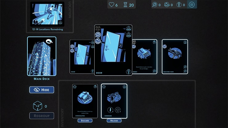 Hunted Kobayashi Tower, shows several cards from the card game (doors, bullets).